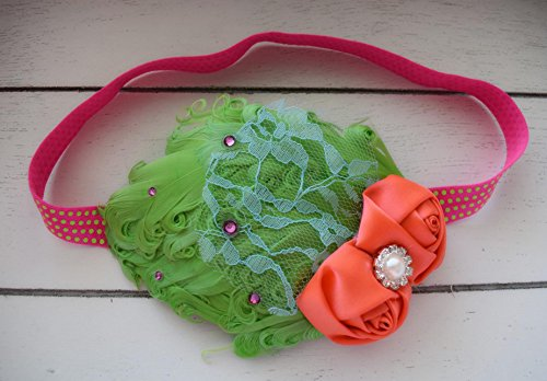 [Radiate Neon Headband Bright Coral Lime Green Aqua Hot Pink Feather Headband] (Toddler 80s Costumes)