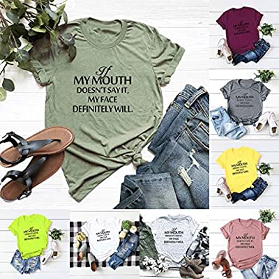 Gibobby Shirts for Women Short Sleeve, Letter Print T-Shirt for Women Sale O-Neck Plus Size Casual Summer Blouses Basic Tops: Clothing