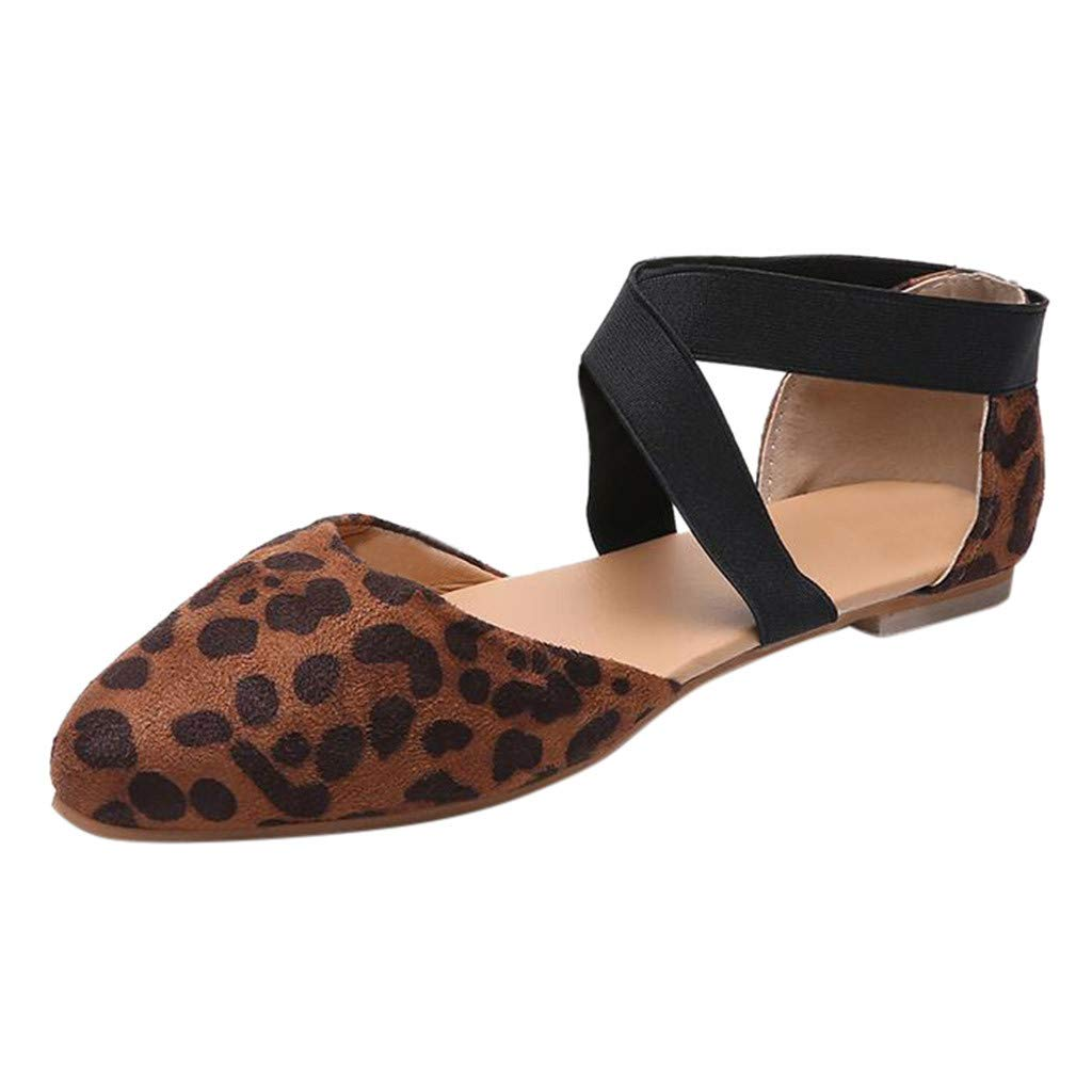 Womens Sexy Pointed Toe Flat Leopard Sandals, Casual Criss-Cross Elastic Strap Closed Toe Sandals Single Shoes Size 5-9 (Brown, US:7.5)
