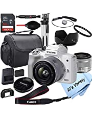 $799 » Canon EOS M50 Mark II (White) Mirrorless Digital Camera with 15-45mm Lens + 64GB Card, Tripod, Case, 18pc Bundle