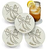 Drink Coasters by McCarter Coasters, Angel, Absorbent, Light Beige 4.25 inch (4pc)
