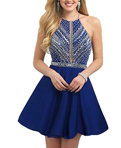 Short Dresses Heavy Short Backless Blue Beaded Party Dress Sexy Evening BONBETE HcqnTRUgq