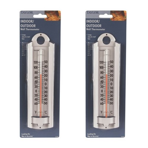 Thermometer Aluminum (Taylor Indoor-Outdoor Aluminum Wall Thermometer (2 Pack))