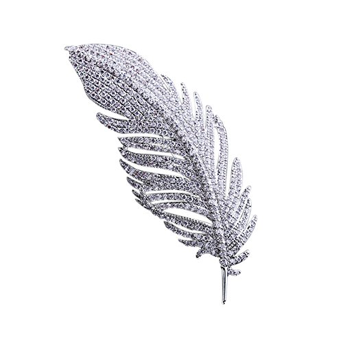 Brooch Feather - SHANLIHUA Feather Brooch Pins for Womens Safety Pin Accessories White Gold with Scarf Hat Clothes