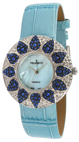 Peugeot Women's J1450BL Blue Swarovski Crystal Round Case Blue Strap Watch