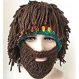 Jenny Shop Beard Wig Hats Handmade Knit Warm Winter Caps Men Women Kid, Brown