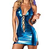 New Leather Sexy Mini Dress Sexy Nightclub Dancing Temptation Sexy Lady Lenceria Sexy Sex Toys for Woman Blue