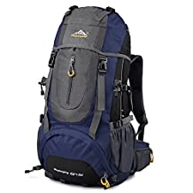 VBIGER 65+5L Hiking Backpack Waterproof Camping Backpack Backpacking Internal Frame Trekking Bag for Outdoor Climbing,Camping,Travel,Mountaineering
