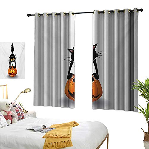 Halloween Decor Curtains by Black Cat on Pumpkin Drawing Spooky Cartoon Characters Halloween Humor Art W55 x L39,Suitable for Bedroom Living Room Study, -