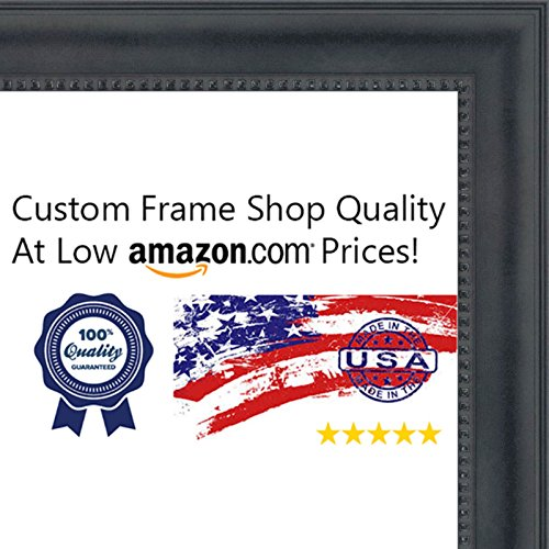 27x40 Traditional Black Wood Picture Frame - UV Acrylic, Foam Board Backing, & Hanging Hardware Included! by Poster Palooza