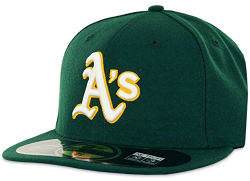 New Era MLB Oakland Athletics Road AC On Field 59Fifty Fitted Cap, Green, 6 (Green 59fifty Fitted Cap)