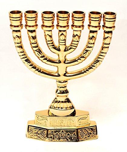 Large Menorah Gold Plated From Holy Land Jerusalem H/28 x W/21 CM by Jerusalem Menorah