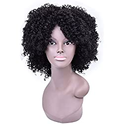 Miss Rola Black Kinky Curly Wigs For African American Female Kanekalon Synthetic Fiber Hair Wig Full And Soft For Head (1B#)