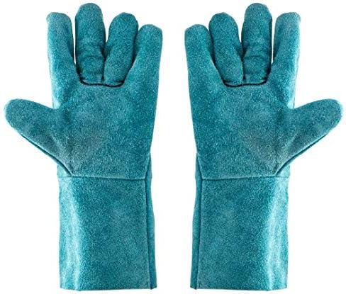 労働保護作業用手袋 レザーグローブ脱皮防止耐摩耗性高温保護手袋、10ペア (Color : Blue, Size : L)
