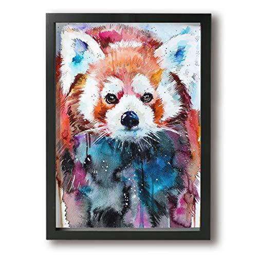 Little Monster Red Panda Framed Oil Paintings On Canvas Wall Decor Comics Art for Childrens Bedroom Black
