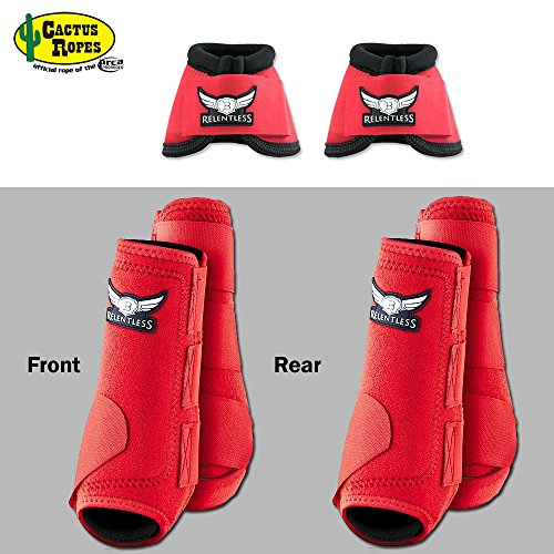 LRG RED RELENTLESS TREVOR BRAZILE FRONT REAR SPORT BELL BOOT 6 PACK HORSE LEG by RELENTLESS