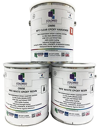 Coloredepoxies 10025 White Epoxy Resin Coating Made with Beautiful and Vibrant Pigments, 100% solids, For Garage Floors, Basements, Concrete and Plywood. 3 Gallon Kit ()