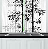 Tree of Life Kitchen Curtains by Ambesonne, Silhouette of Spiritual Bamboo Tree Leaves Japanese Zen Feng Shui Boho Image, Window Drapes 2 Panels Set for Kitchen Cafe, 55 W X 39 L Inches, Black White