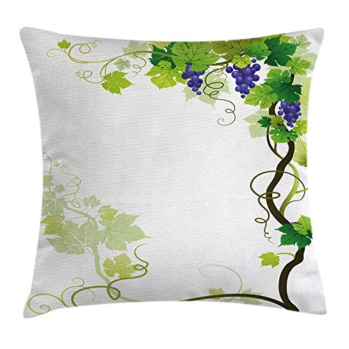 CHA-LRS.BB Grapes Home Decor Throw Pillow Cushion Cover by, Vineyard Frame with Swirled Fresh Cluster Garden Plant Lush Design, Decorative Square Accent Pillow Case, 18 X 18 Inches, Purple Green -