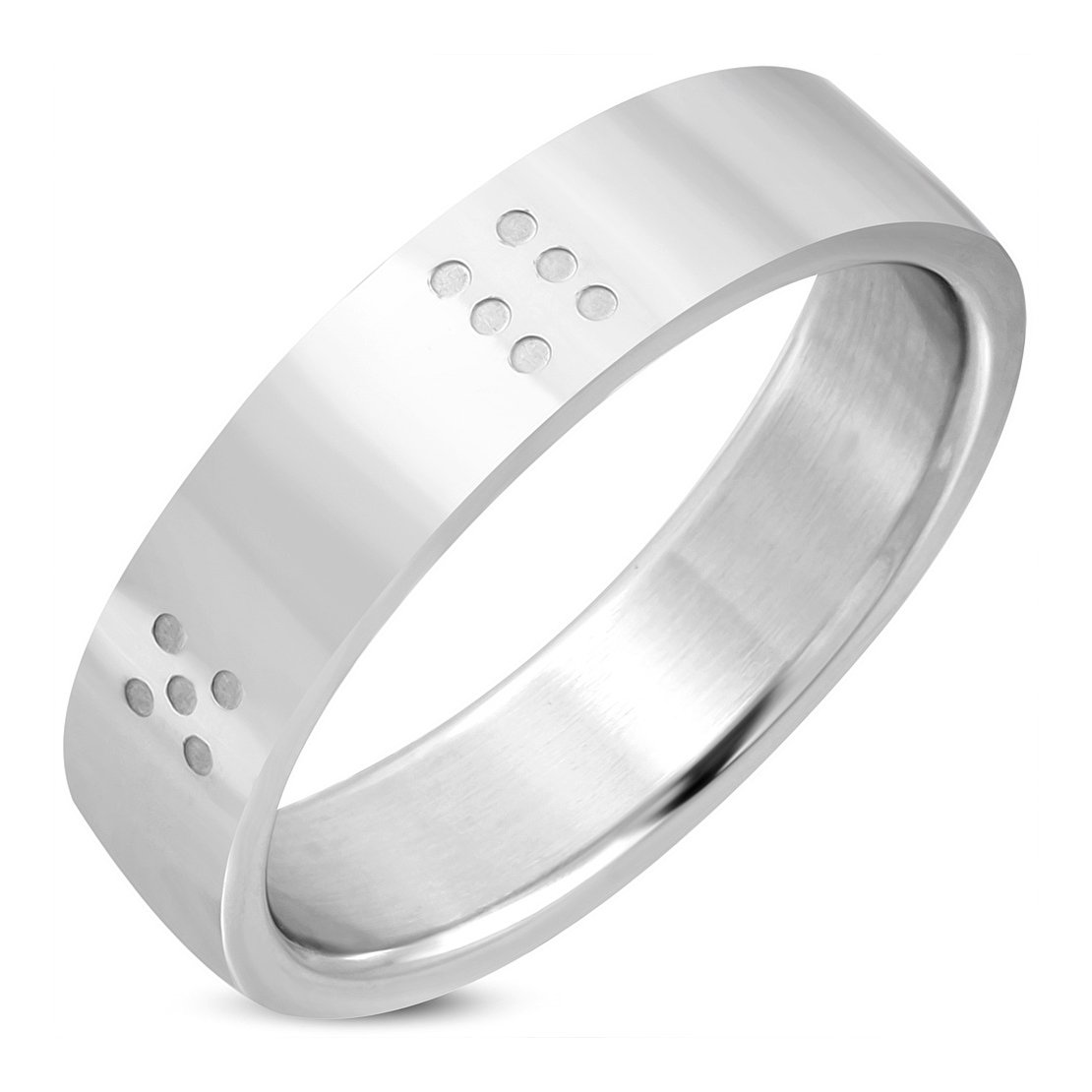 Stainless Steel Lucky Dice Flat Band Ring