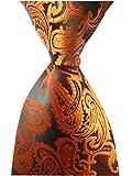 Big boy Men's Brass Orange Extra Long Ties Silk Work Fashion Fun Party Neckties
