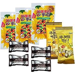 2020 クリスマス記念 ひまわりチョコ3袋 + ハニーバターアーモンド35g 1袋+ハニーバターミックスナッツ1袋+リアルブラウニー 20g x 4個 韓国 スイーツセット