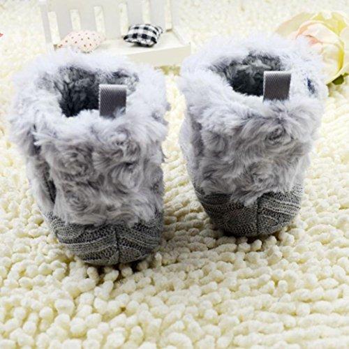 Tefamore Zapatos Botas de nieve Bebe de Antideslizante de Suave de Primeros caminantes Invierno Otoño Gris