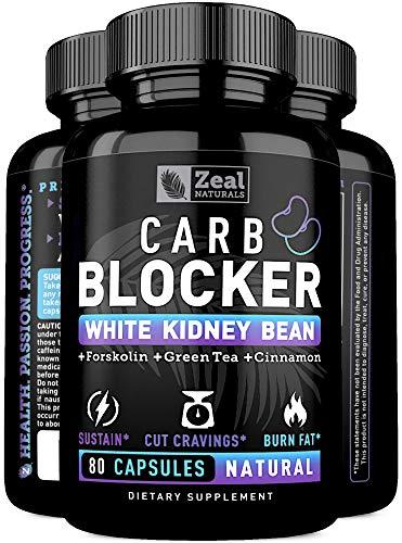 White Kidney Bean Carb Blocker + Forskolin Extract (700mg | 80 Capsules) Keto Carb Blocker w. Forskolin Max Strength & Pure White Kidney Bean Extract for Keto Cheat Carb Intercept + Sugar Blocker