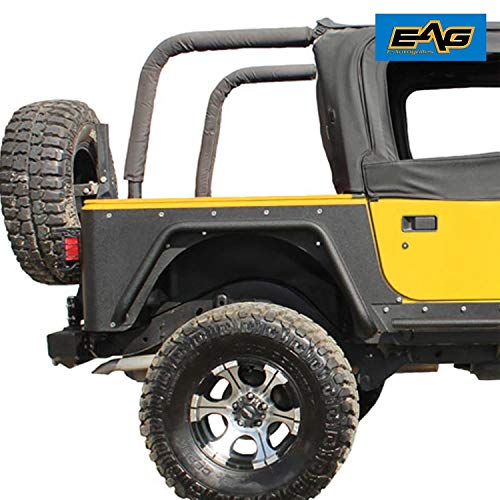 EAG Off Road Black Textured Rear Corner Rocker Guard Rock a Pair Fit for 97-06 Jeep Wrangler TJ