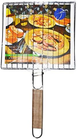 Mannily barbecue griller Panier Portable en métal barbecue grill Panier fil Tapis outils avec manche en bois pour poissons, légumes, à steak, crevettes