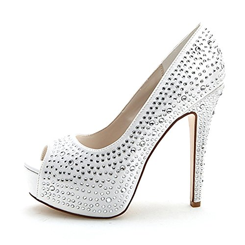 Nuptiale Talon 3128 Party Prom Strass Argent Pompes 14 Mariage Chaussures Diamante Femmes Kitten Court Bas silver Elobaby B8IY1qvx