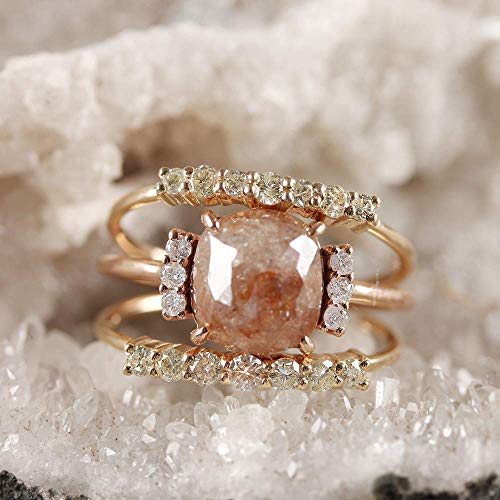 Genuine 2.77 Ct. Cushion Shape Red Diamond Fashion Ring Solid 14k Rose Gold Wedding Handmade Fine Jewelry