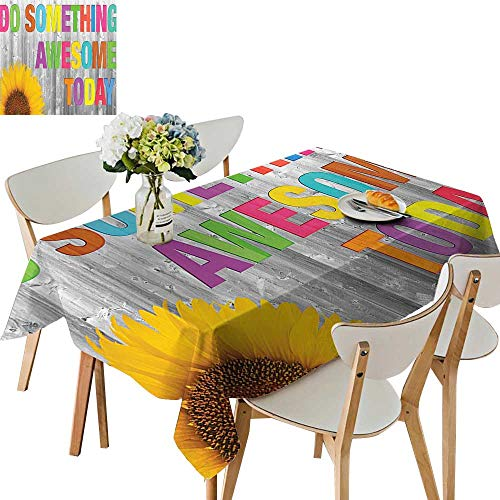 - UHOO2018 Polyester Tablecloth Square/Rectangle Do Something Awesome Today Sunflower on Wooden Wall Wood Panel Colorful Design Resistant and Waterproof,54 x120inch.