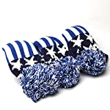 COOLSKY Golf USA Blue Star Stripes Pattern Set Knit Vintange Pom Pom Sock 3pcs Headcover Covers Available in Driver or Fairway/Hybrid Size