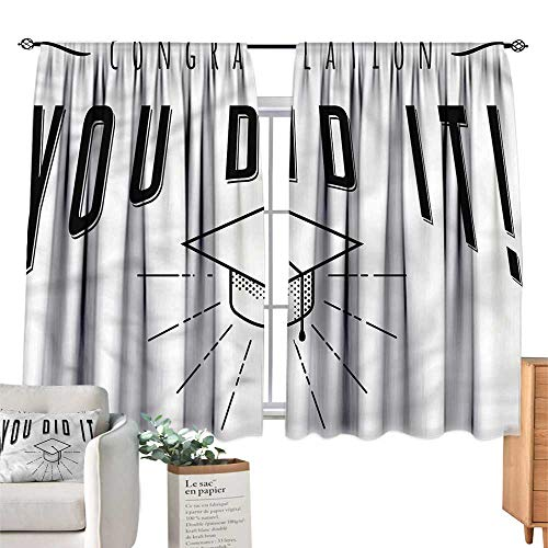 WinfreyDecor Graduation Exclusive Home CurtainsGraduate Cap and Text Suitable for Bedroom Living Room Study, etc.55 Wx45 L -
