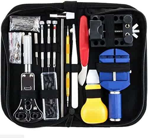 147 PCs Watch Repair Tool Kit Set Professional Spring Bar Tool Set Watch Link Pin Tool Back Opener Remover Watch Maintance Kits with Carrying Case & Hammer