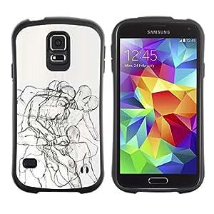 "Hypernova Slim Fit Dual Barniz Protector Caso Case Funda Para Samsung Galaxy S5 [Body Anatomy Drawing Pencil""]"
