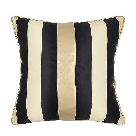 F-yanyan cushions Simple Modern Black Gold Striped Cushion Pillow Core Decoration Square Cushion Sofa Bed Car Office Chair (45cmx45cm)