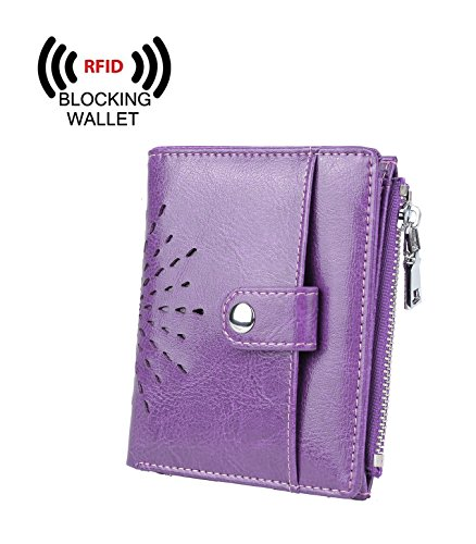 YALUXE Women's RFID Blocking Security Leather Small Billfold Wallet with Coin Pocket Purple by YALUXE