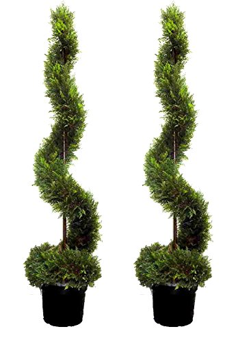 Admired by Nature 2 x 5' Artificial Cypress Leave Spiral Topiary Plant Tree in Plastic Pot, Green ()