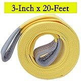 """Big Ant Nylon Recovery Tow Strap 20K Lb Capacity Emergency Heavy Duty(3"""" x 20')"""