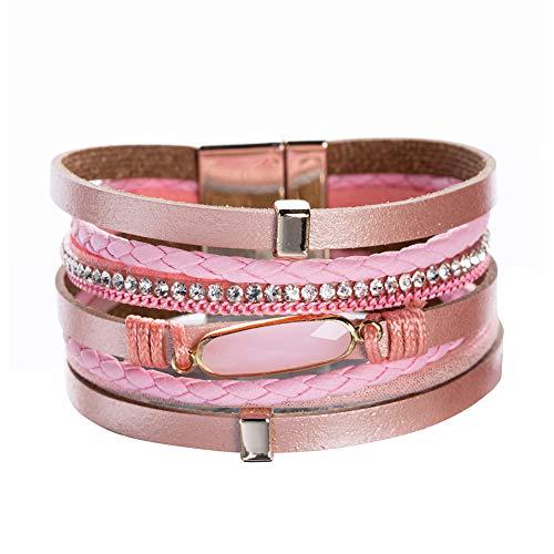 - Vercret Leather Wrap Bracelet for Women - Friendship Bracelets for Girl, Ideal Bangle Gift for Best Friend, Big Sister, Mom(Pink)