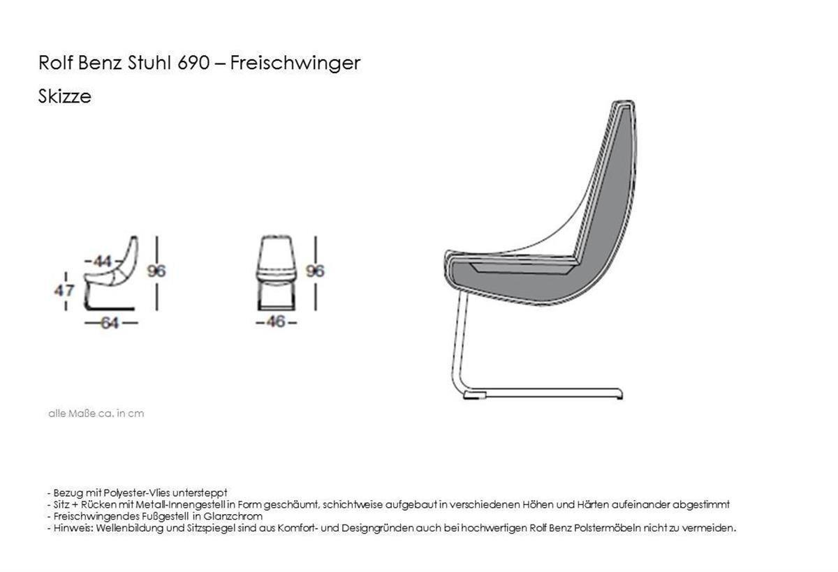 Rolf Benz Stuhl 690 Leder Schwarz 60500 Fuß Glanzchrom Amazonde