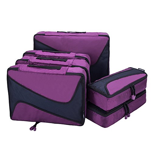 Rick Steves Suitcase (6 Set Packing Cubes - 3 Various Sizes Luggage Packing Organizers For Travel (Purple))