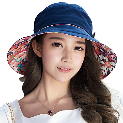 Bow Ships Floral Large (Siggi Bucket Boonie Cord Fishing Beach Cap Summer Sun Hat Bowknot Wide Brim for Women Navy)