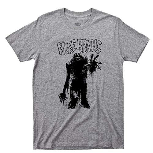 Zombie T Shirt More Brains Living Dead Movie Tee (Medium, Sport Gray) (Brain Dead T-shirt)
