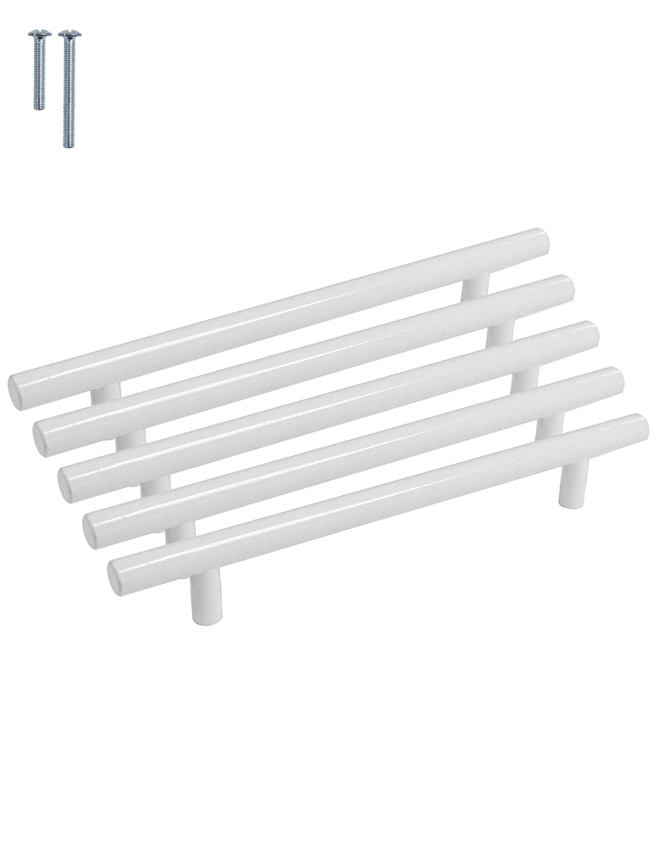 color blanco serie T agujero /único con tornillos de 6 x 25 mm PinLin blanco Tiradores de acero inoxidable para puertas de armarios de cocina