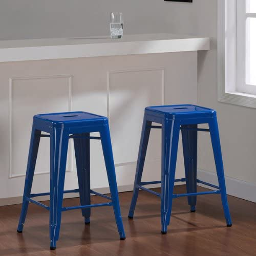 Tabouret 24-inch Baja Blue Metal Counter Stool Set of 2 .