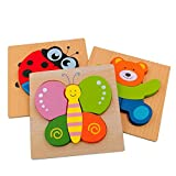 DreamsEden Wooden Jigsaw Puzzles for Toddlers Animal Chunky Puzzles Educational Toys for Kids Boys Girls, Free Drawstring Bag for Easy Storage