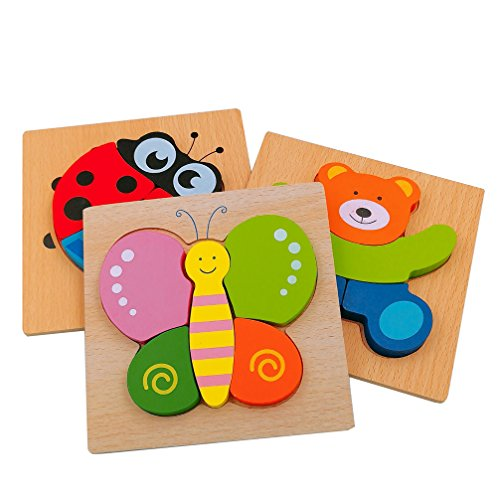 DreamsEden Wooden Jigsaw Puzzles for Toddlers Animal Chunky Puzzles Educational Toys for Kids Boys Girls, Free Drawstring Bag for Easy Storage ()
